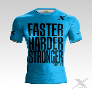 FASTER HARDER STRONGER BLUE WHITE KOSZULKA TRENINGOWA